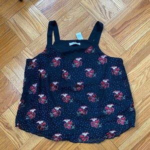 Black and navy floral textured tank top